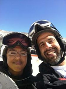 Me and my son skiing
