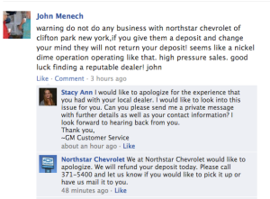 GM Customer Service Facebook Cnoversation