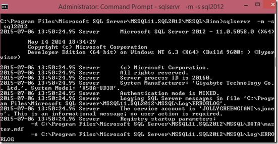 2015-07-06 13_52_27-Administrator_ Command Prompt - sqlservr   -m -s sql2012
