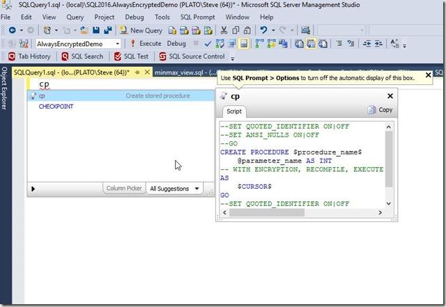 2016-09-13 13_01_43-SQLQuery1.sql - (local)_SQL2016.AlwaysEncryptedDemo (PLATO_Steve (64))_ - Micros