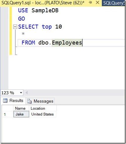 2016-11-22 12_39_54-SQLQuery1.sql - localhost_SQL2016.SampleDB (PLATO_Steve (62))_ - Microsoft SQL S