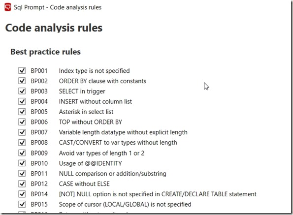 2018-01-29 13_21_50-Sql Prompt - Code analysis rules