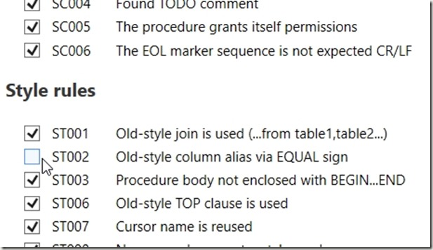2018-01-29 13_23_23-Sql Prompt - Code analysis rules