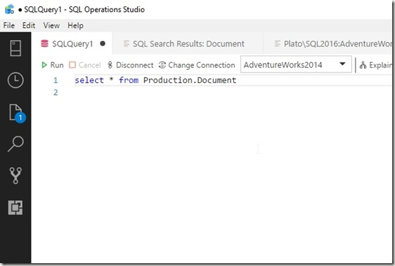2018-07-09 20_02_47-? SQLQuery1 - SQL Operations Studio