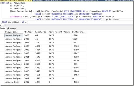 2018-08-22 19_18_30-SQLQuery1.sql - Plato_SQL2016.NFLAnalysis (PLATO_Steve (52))_ - Microsoft SQL Se