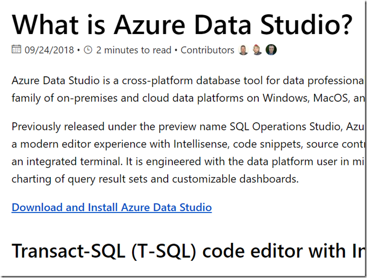 2018-10-19 16_24_03-What is Azure Data Studio_ _ Microsoft Docs