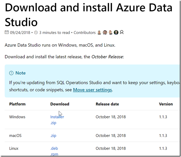2018-10-19 16_24_13-Download and install Azure Data Studio _ Microsoft Docs