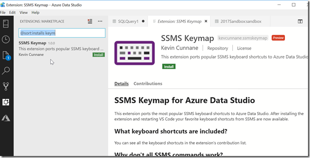 2018-10-19 17_18_34-Extension_ SSMS Keymap - Azure Data Studio