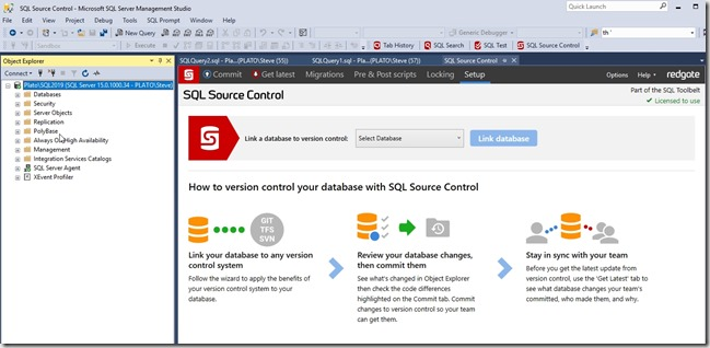 2018-11-27 13_19_43-SQL Source Control - Microsoft SQL Server Management Studio