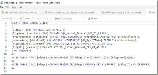 2019-03-14 10_19_57-dbo.Blogs.sql - disconnected - Tables - Azure Data Studio