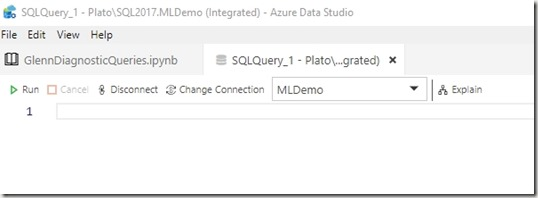 2019-04-25 09_59_58-SQLQuery_1 - Plato_SQL2017.MLDemo (Integrated) - Azure Data Studio