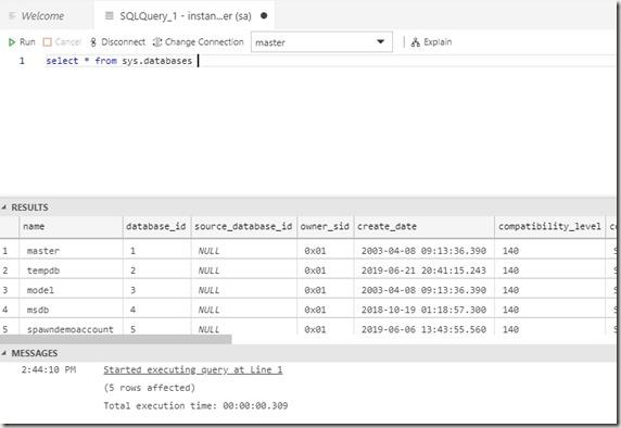 2019-06-21 14_44_21-● SQLQuery_1 - instances.spawn.cc,53231.master (sa) - CoolADSNotebooks - Azure D