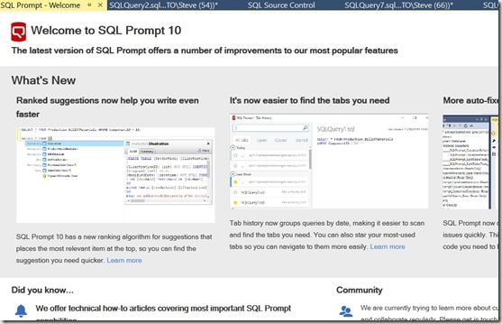 2019-11-08 08_31_30-SQL Prompt - Welcome - Microsoft SQL Server Management Studio