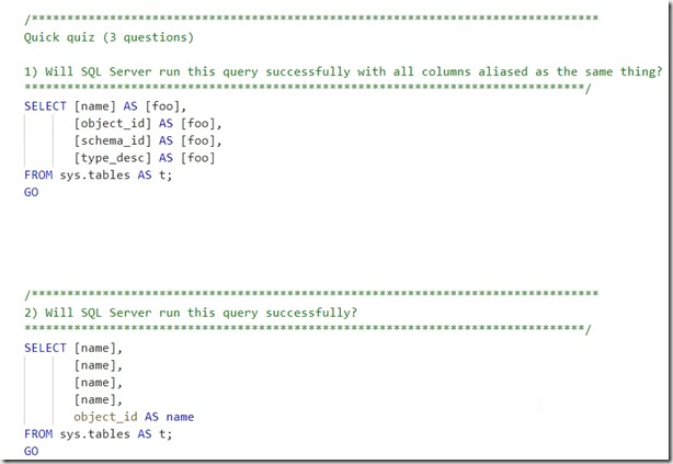 2020-05-01 11_09_20-1_SelectAndAlias_Demo.sql - Plato_SQL2017.sandbox (Integrated) - TSQLBeginners -