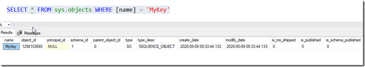 Sequence object results from sys.objects