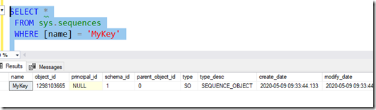 First few columns of sys.sequences