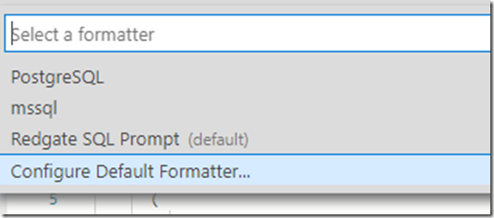 Configure formatter option in command palette