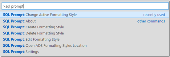 SQL Prompt Options in ADS