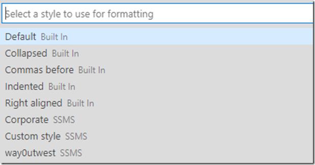SQL Prompt Formatting Styles