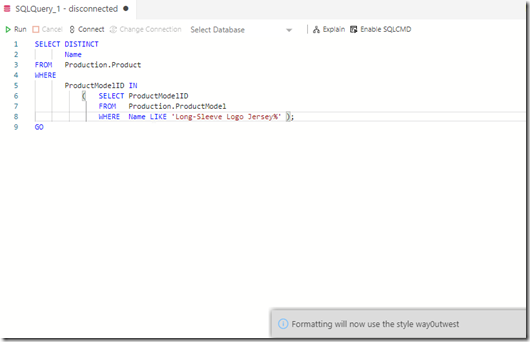 new query formatting