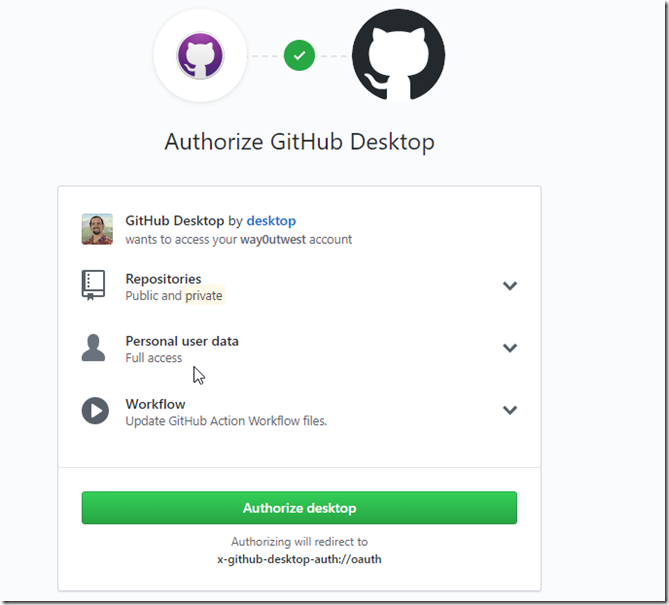 Authorize GitHub Desktop