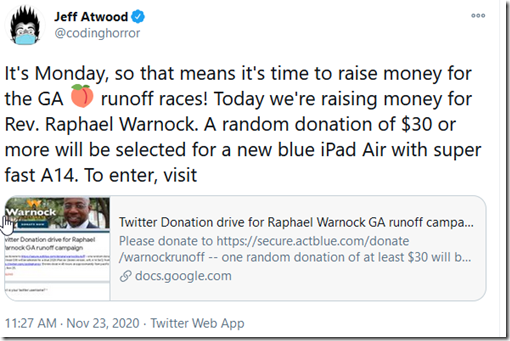 2020-11-30 15_28_03-Jeff Atwood on Twitter_ _It's Monday, so that means it's time to raise money for