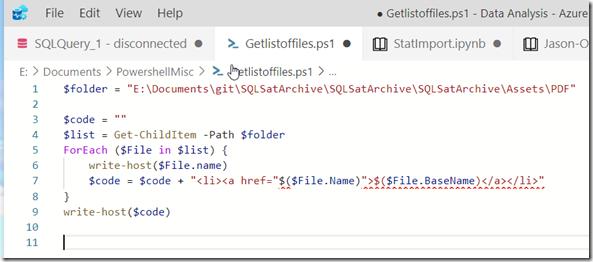 2020-12-22 15_09_28-● Getlistoffiles.ps1 - Data Analysis - Azure Data Studio