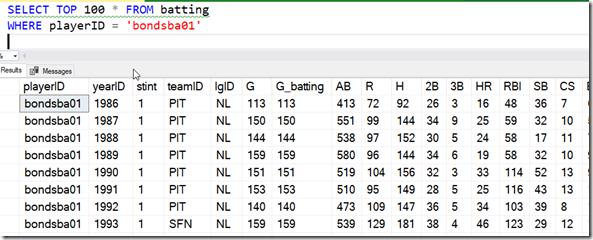 2021-07-06 12_58_18-SQLQuery1.sql - ARISTOTLE.BaseballData (ARISTOTLE_Steve (51))_ - Microsoft SQL S