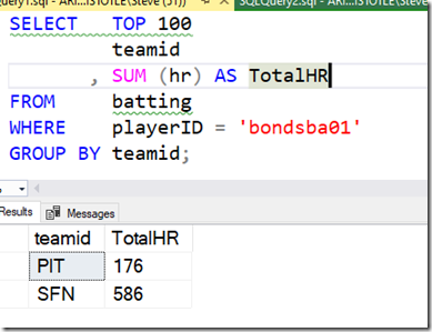 2021-07-06 13_00_35-SQLQuery1.sql - ARISTOTLE.BaseballData (ARISTOTLE_Steve (51))_ - Microsoft SQL S