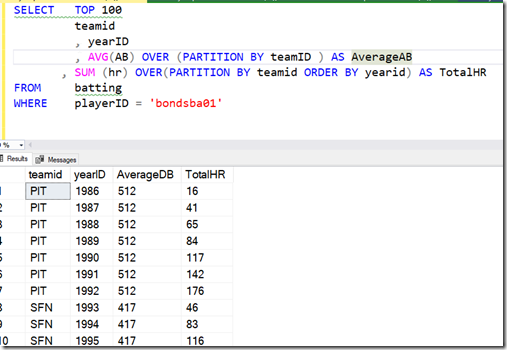 2021-07-06 13_07_16-SQLQuery1.sql - ARISTOTLE.BaseballData (ARISTOTLE_Steve (51))_ - Microsoft SQL S