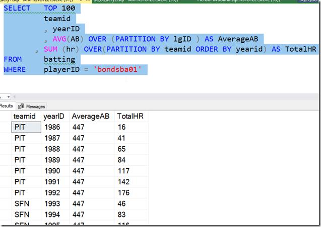 2021-07-06 13_12_26-SQLQuery1.sql - ARISTOTLE.BaseballData (ARISTOTLE_Steve (51))_ - Microsoft SQL S