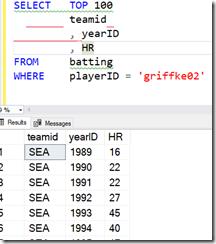 2021-07-13 11_34_04-SQLQuery1.sql - ARISTOTLE.BaseballData (ARISTOTLE_Steve (75))_ - Microsoft SQL S