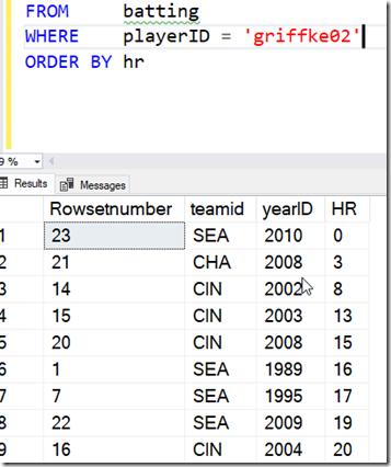 2021-07-13 11_41_59-SQLQuery1.sql - ARISTOTLE.BaseballData (ARISTOTLE_Steve (75))_ - Microsoft SQL S